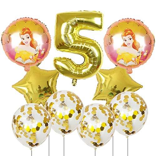 Yqs Globo 9pcs Bella y la Bestia de Aluminio de 30 Pulgadas Globos Decoraciones de la Fiesta de cumpleaños número Globo Globos Princesa de la Muchacha (Color : 5)