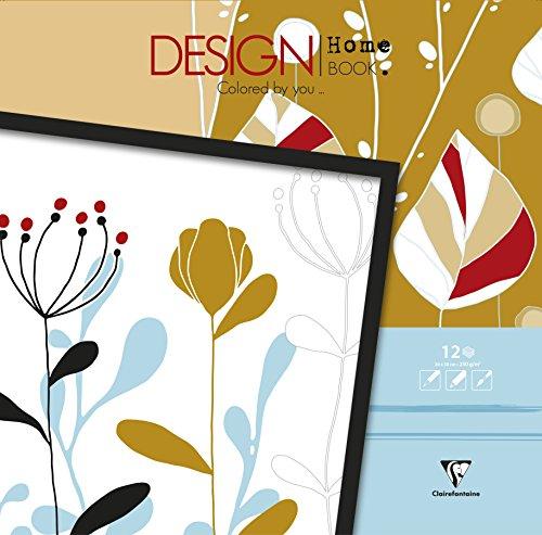 Clairefontaine 97440C - Un bloc de 12 feuilles de dessin prêt à colorier au format maxi 30x30 cm, Design Home Book Osaka