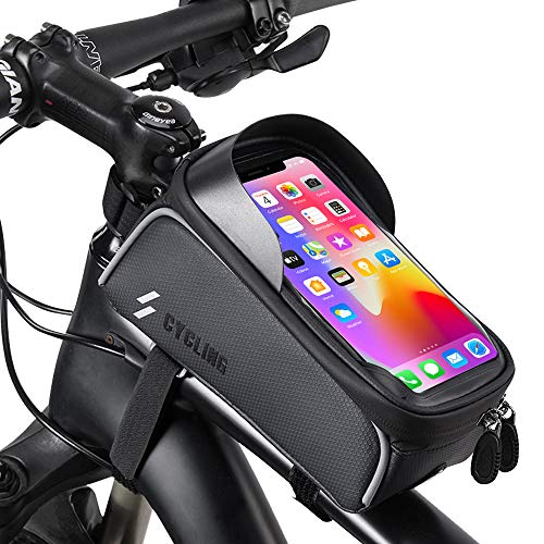 HHD Bike Phone Front Frame Bag - Waterproof Top Tube Cycling Bags Bicycle Phone Bag with Touch Screen Sun Visor Large Capacity Phone Case for Cellphone Below 6.5'' iPhone 11 8 Plus xs max