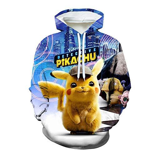 SZXZS Pullover Hooded Unisexe Sweats à Capuche Pikachu Hommes Femmes Impression 3D Anime Japonais T-Shirts Pokemon Pulls molletonnés décontractés Adolescents Uniformes de baseball-1101_L