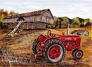 Diy Oil Paint by Number Kit for Adults Beginner 16x20 Inch - Farm Tractor,Drawing with Brushes Christmas Decor Decorations Gifts (Frameless)