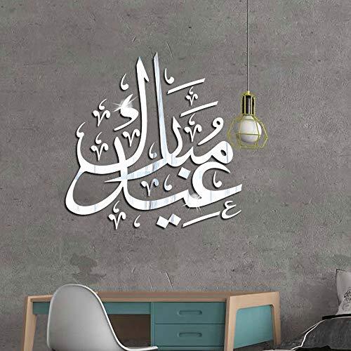 Kyprx Islamic Culture 3D Acrylic Mirror Wall Sticker Muslim Sticker Bedroom Living Room Decoration White 60 CMx60 CM