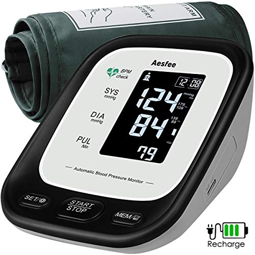 Blood Pressure Monitor Upper Arm with Large Cuff, Accurate Automatic Arm BP Machine for Home Use, Digital Blood Pressure & Heart Rate Pulse Monitors USB Rechargeable, Dual User 2 x 90 Reading Memory