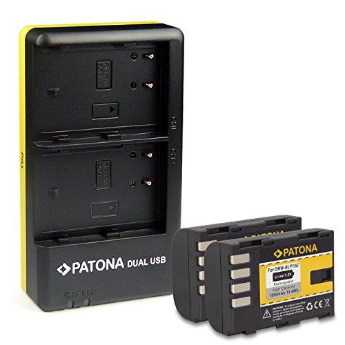 PATONA Caricabatteria doppio + 2x Batteria DMW-BLF19 compatibile con Panasonic Lumix DC-G9, DC-GH5, DMC-GH4, DMC-GH3