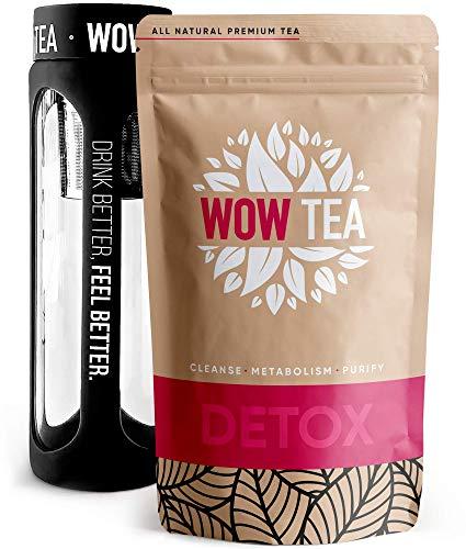 WOW TEA Kit Purificador: 21 Dias Detox Té | Té Adelgazante Para Bajar de Peso | Mezcla de Té de Hierbas Orgánicas de Desintoxicación, Control de Perdida de Peso | Botella de Infusor | 150g, Made in EU