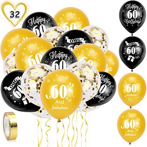HOWAF 60. Geburtstag Luftballons, 30 Stück Schwarz Gold 60. Geburtstags Deko Ballons Latex Konfetti Luftballons & 2 Bänder für Männer Frauen 60. Geburtstag Party Dekorationen - 12 Zoll (Alter 60)