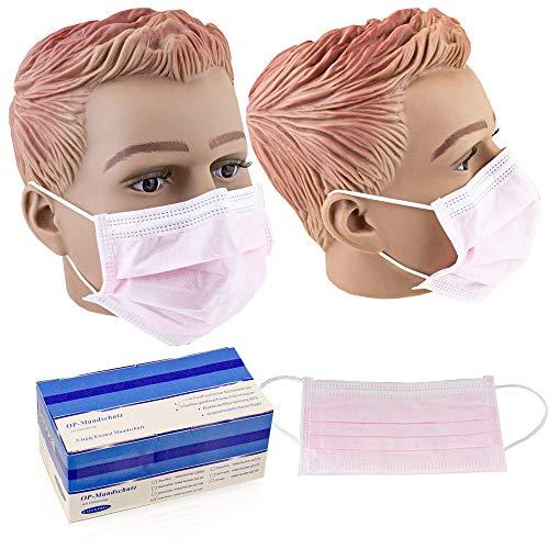 50x Einweg Atem Mundschutz Hygine Atem-Schutz Maske OP Gummiband 3-lagig Nasenbügel (Rosa)