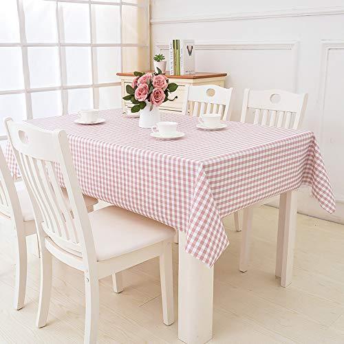 TWTIQ Mantel Simple PVC Restaurante Mantel Impermeable Y A Prueba De Aceite Mesa De Centro Lavable Mantel Rectangular Rosa Claro 137 * 137 Cm