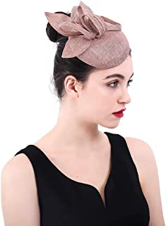 Hat Fashion Women's Sinamay Headband Fascinator Wedding Headwear Flower Ladies Race Royal Ascot Pillbox Cocktail Party Derby Hat Fashion Accessories (Color : Brown)