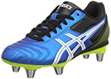 Asics Lethal Tackle Gs, Chaussures de Rugby Mixte enfant - Bleu (electric Blue/white/flash Yell 3901), 33.5 EU