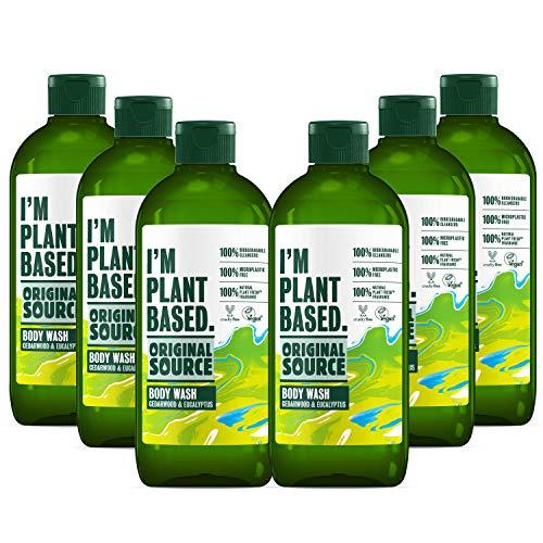 Original Source Duschgel auf Pflanzenbasis aus Zedernholz und Eukalyptus, 100 % biologisch abbaubar, 100 % mikroplastisch, 100 % natürlicher Duft, Tierversuchsfrei, vegan, Multipack mit 6 x 335 ml
