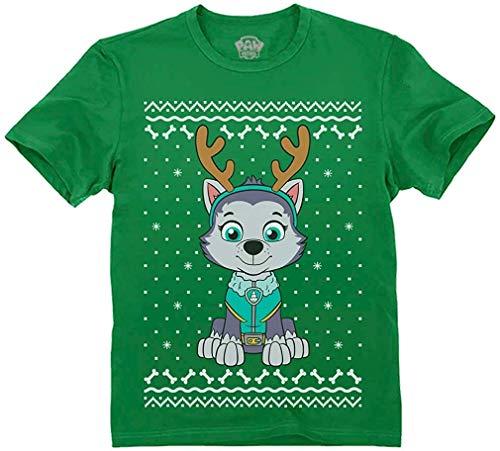 Quafoo Ugly Christmas Everest Reindeer Toddler Kids T-Shirt,Green,5/6