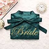 Frauen Stickerei Braut Brautjungfer Kimono Bademantel Kleid Sexy Mini Schlaf Nachthemd Nachtwäsche Brautkleider -Green Bride-2-M