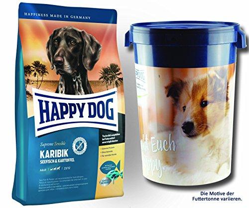 2 x 12,5 kg + Futtertonne 43 Liter Happy Dog Supreme Sensible Karibik