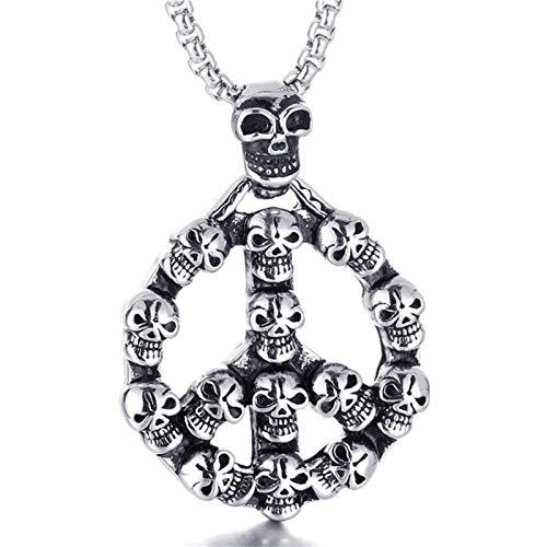 Collares Colgante Joyas Punk Rock Skull Sign Symbol Collares Pendientes Acero Inoxidable Biker Skull Colgante Collar Gargantilla para Hombres Jewelry-Silver_with_60Cm_Chain