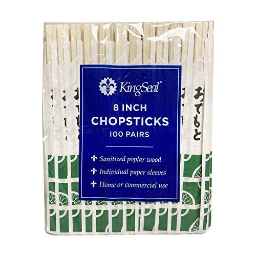 KingSeal 8 Inch Natural Poplar Wood Chopsticks, Paper Sleeve - 40 Packs of 100 Pairs (4000 Count)