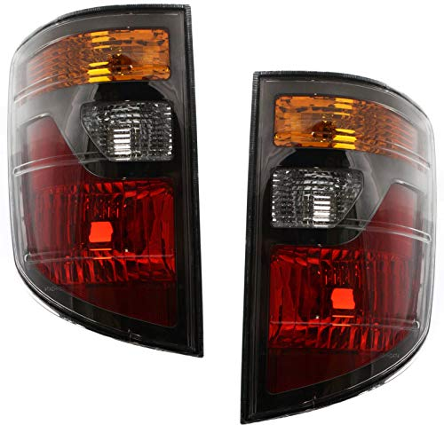 Tail Light Lens and Housing Compatible with 2006-2008 Honda Ridgeline Halogen Amber Clear & Red Lens Set of 2 Passenger and Driver Side