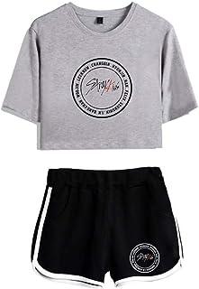 FEIRAN Stray Kids Boy Band Short Shorts de Manga Corta para Mujer y niña Top + Shhort Set E Grey + Black XXL