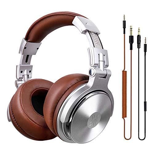 Lily Wired Kopfhörer, Noise-Cancelling-Kopfhörer, geeignet für Musik, Gesang und Aufnahme, DJ PC mobiler Computer, 3,5 mm und 6,5 mm freien Schalt,Silber