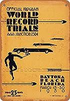 世界記録タイムトライアルデイトナビーチティンサインヴィンテージファニークリーチャーアイアンペインティングメタルプレートパーソナリティノベルティ