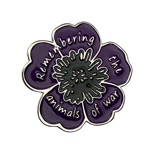 EyeWearStraps New Purple Poppy 'Remembering The Animals of War' Badge Brooch Pin
