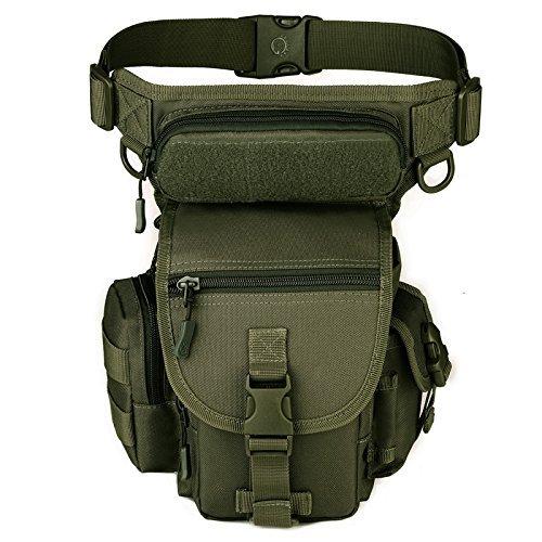 YFNT Exterior táctico Impermeable Pierna Bolsa Banana para Deporte Caminata Camping Militar Bolsa Molle cinturón Bolsa Moto para (Ejercito Verde)
