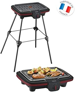 Tefal CB902O12 Barbecue Electrique Easy Grill Contact sur pieds Noir/bordeaux Thermospot