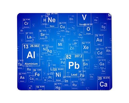 Yeuss Periodensysteme Rechteckiges rutschfestes Mauspad Periodensystem mit chemischem Element Periodensystem Blauer Hintergrund Gaming Mauspads 200 mm x 240 mm