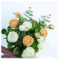 HTL 美しい造花人工的な偽の花人工的なバラのブライダルのウェディングブーケのための家のガーデンパーティーの結婚式の絹の花はリビングルームと寝室のフェイクの植物の装飾に置かれました,黄