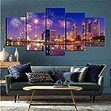 Arte de Pared Impreso 5 Piezas Set fotografía Fuegos Artificiales Sala de Estar para decoración del hogar 80x150cm (sin Marco)