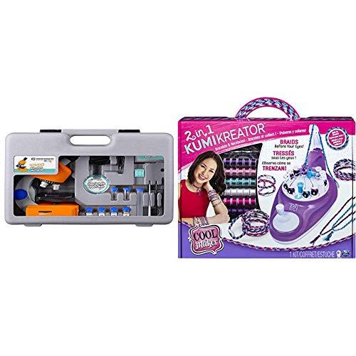 Bresser Junior Mikroskop 40x-640x mit LED-Durchlichtbeleuchtung mit Batteriebetrieb und umfangreichen Zubehörpaket für Kinder und Einsteiger, orange & Cool Maker - 2 - in - 1 Kumi Kreator Studio