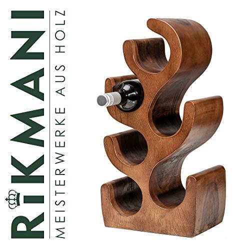 Stylischer Weinregal - Deko Weinständer aus Holz - handgemacht kreativ - Weinregal (S-Dunkel)