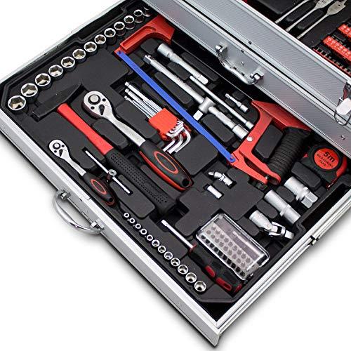 BITUXX® 206 tlg Werkzeugkiste komplett Werkzeugkoffer bestückt Werkzeugkasten gefüllt Schubladen inklusive Akkuschrauber Ratschenringschlüssel Ratschenkasten Knarrenkasten Steckschlüssel Nüsse - 5