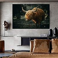 写真壁アートキャンバスプリント現代アートヤク動物キャンバス絵画壁の写真家の装飾キャンバスプリント40x60cmフレームレス