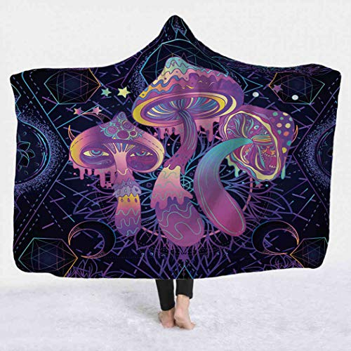Qamida Psychedelic Moon Hooded Blanket, Magic Mushrooms Over Sacred Geometry Rave Party Trance Music Blanket Hoodie Wearable Sherpa Warm Soft Cozy Blanket for Bed Couch Travel, 60x80 Inches