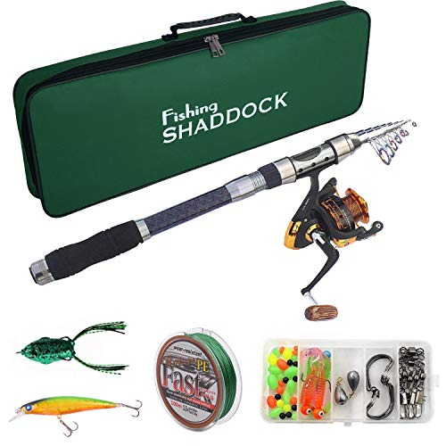 Telescoping Fishing Rods and Reels Combo - Travel Fishing Poles with...