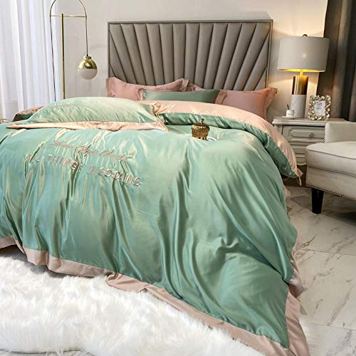 funda de edredón para cama individual,Conjunto de ropa de cama y hoja ajustada Doble tamaño 4 piezas Cubierta de edredón de microfibra cepillada 100GSM con fundas de almohadas-norte_1,8 m de cama (4