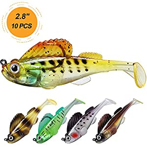"""TRUSCEND Fishing Lures for Bass Trout 2.8"""" Fishing Jig Lures Paddle Tail Swimbaits Soft baits Japan Formula Freshwater Saltwater bass Fishing Lure kit Lifelike Jig Lures"""