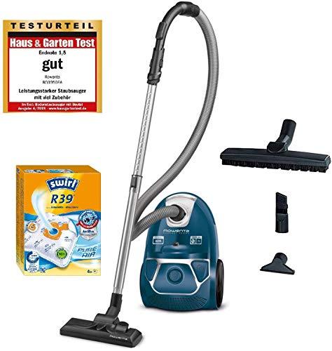 Rowenta RO3950 Staubsauger mit Beutel + 4er Pack Swirl R 39 Staubsaugerbeutel für Dauerhaft hohe Saugleistung, 3L Beutelvolumen, 750 W = 2000W, extrem leise, Hygienefilter, mit Parkettdüse, blau