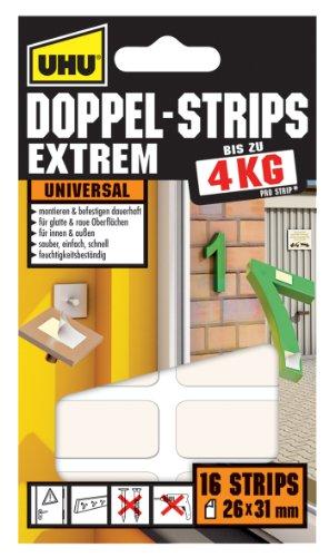 UHU 45450 Doppel-Strips Extrem, 4 kg, 26 mm x 31 mm, 16 Stück