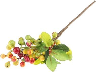 Kawn Plastic Artificial Fake Plant Fruit Berries Branches Home Cafe Decor Orange