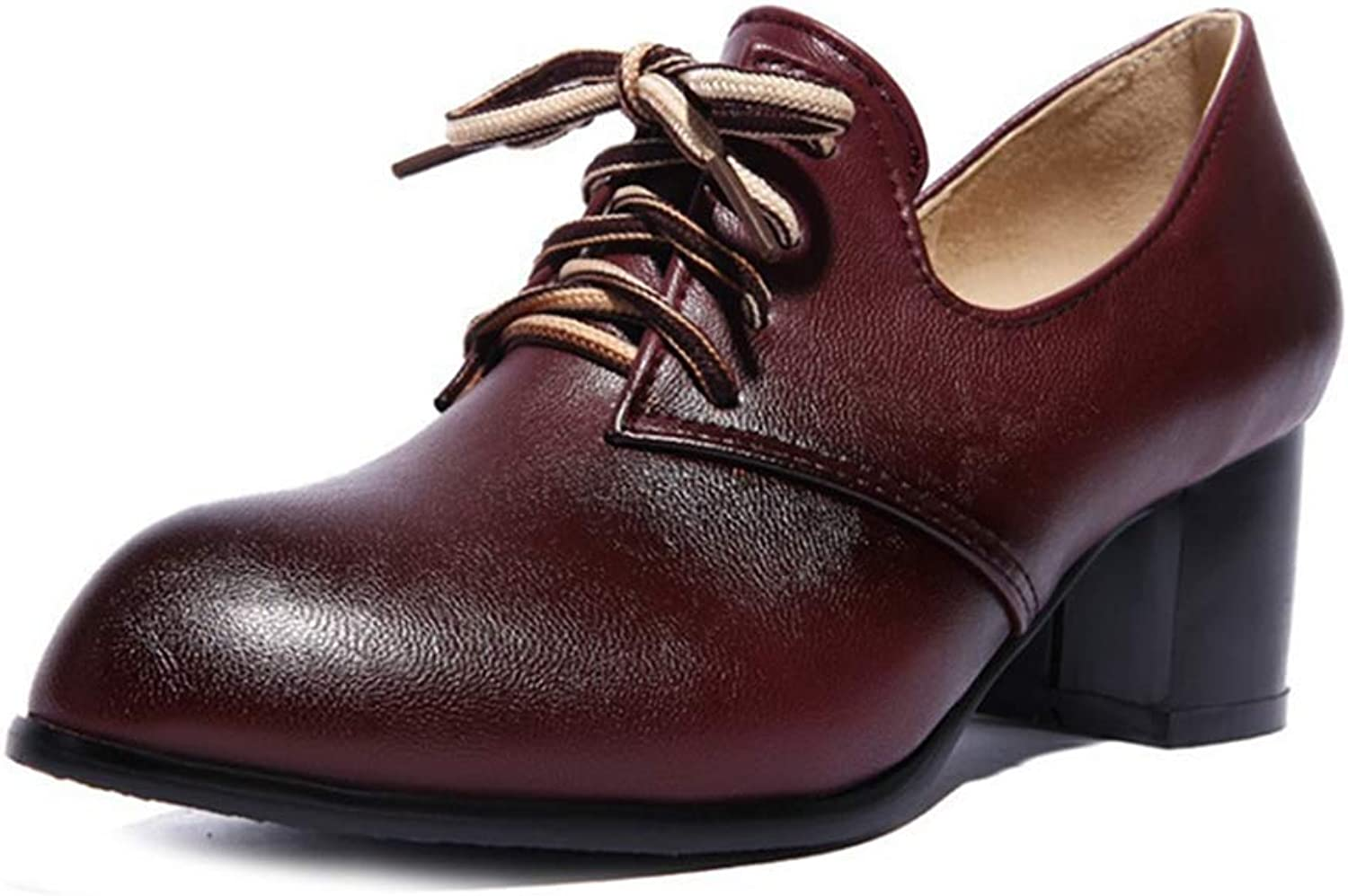 Fashion shoesbox Women's Lace Up Wingtip Oxford shoes Pumps Pointed Toe Platform Mid Block Heel Dress Oxfords Brogues