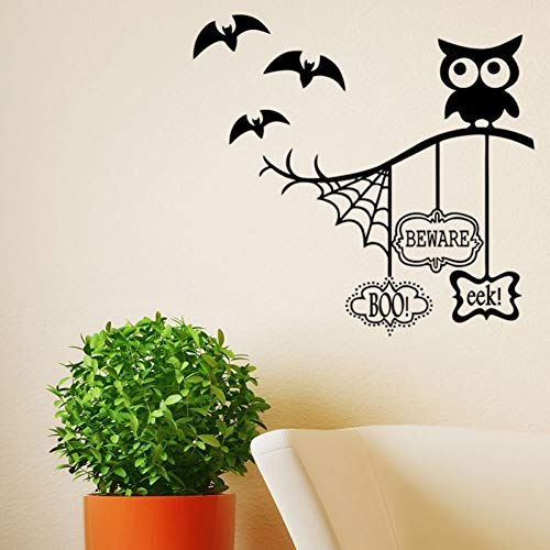 Wandaufkleber Dekorative Aufkleber Wand Dekoration Wandbilder Eule Halloween Thema Wand Aufkleber Spinne Web Bat Für Home Dekoration Wohnzimmer Hintergrund Wandbild Kunst Decals PVC Aufklebe