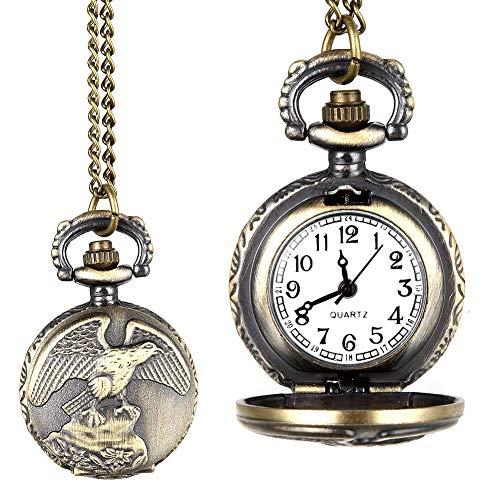 J-Love Moda Hombres Mujeres Vintage Reloj de Bolsillo de Cuarzo aleación Antiguo águila alas patrón Collar Colgante Cadena Reloj Regalos