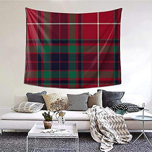 Fraser Gathering Red Tartan Tapestry Wall Hanging Wall Decor Home Decor Beach Blanket Indian for Bedroom Dorm Home 60x51 Inch