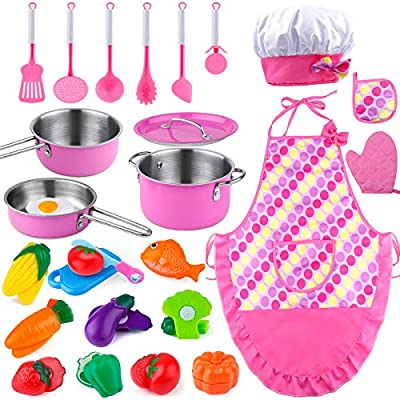 GiftInTheBox Kids Kitchen Pretend Play Toys, Kitchen Toys for Girls, Play Kitchen Accessories for Toddlers with 3 Stainless Steel Pots & Pans, Chef Aprons Set, Cutting Vegetables for Kids Cooking Set
