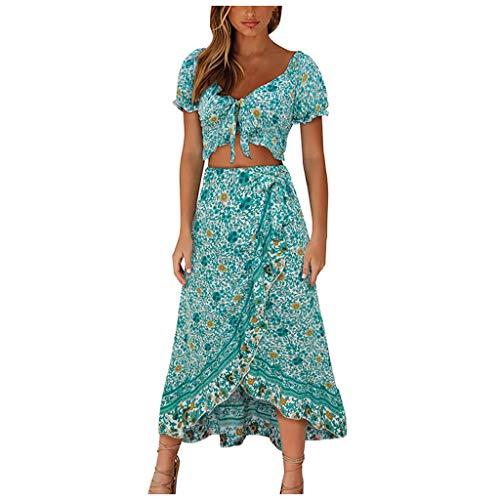 Vestido Boho Verano Conjunto de Falda para Mujer, Dragon868 Dos Piezas Conjunto Flores Estampado Delantera Dividida de Falda para Arriba con Bowknot Tops Holiday Ropa de Playa