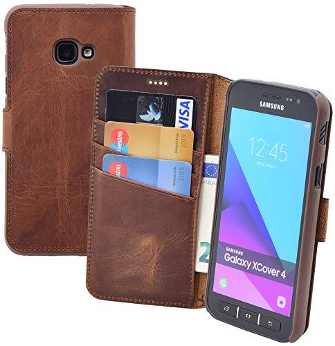 Suncase Book-Style Tasche kompatibel Samsung Galaxy Xcover 4s Ledertasche Leder Schutzhülle Hülle Hülle (mit Standfunktion & Kartenfach) antik Coffee