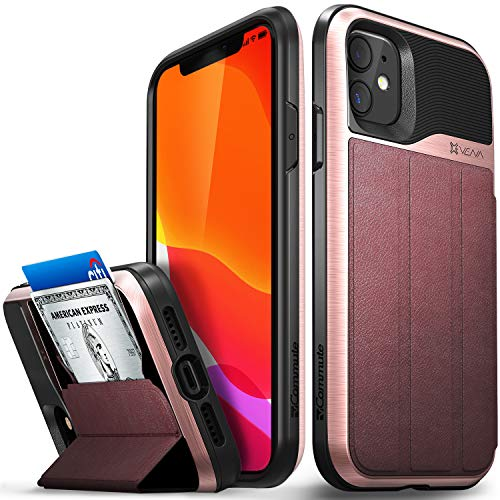 Vena iPhone 11 Wallet Case, vCommute, Military Grade Drop Protection, Flip Leather Cover Card Slot Holder, Designed for iPhone 11 (6.1 inches) - Rose Gold (PC), Black (TPU), Red (Leather)