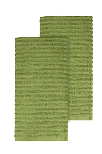 Ritz Royale Collection 100% Combed Terry Cotton, Highly Absorbent, Oversized, Kitchen Towel Set, 28' x 18', 2-Pack, Solid Cactus Green